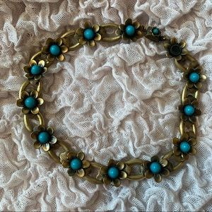 Turquoise Floral Vintage Choker Necklace